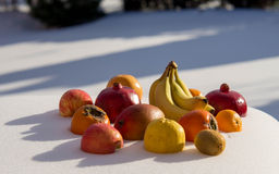 Fruits are at snow Stock Photos
