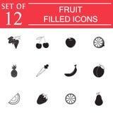 Fruits solid icon set, organic vegetarian food Royalty Free Stock Image