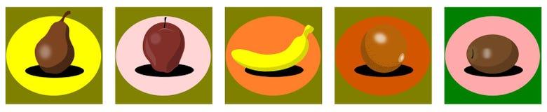 stylized Pear orange kiwi apple and banana isolated Stock Images