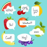 Fruits with speech bubble set in flat design with short messages Royalty Free Stock Photo