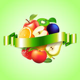 Fruits sphere with label vector background Stock Image