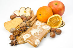 Fruits, spice and gingerbread Stock Image