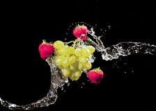Fruits splash. This is a mix fruits splash with water Royalty Free Stock Images