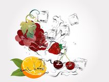 Fruits in splash Royalty Free Stock Photos