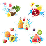 Fruits in splashes Royalty Free Stock Photo