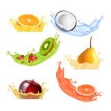 Fruits in splashing juice Stock Photos