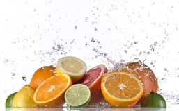 Fruits and Splashing water Royalty Free Stock Image