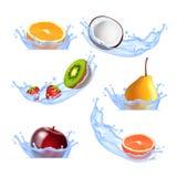 Fruits in splashing water Royalty Free Stock Photos