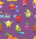 Fruits sportsman vector fruity expression of sporting cartoon character workout doing fitness exercises illustration set. Fruits sportsman vector fruity royalty free illustration