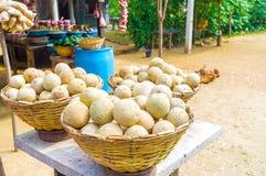 Fruits of Sri Lanka. Heaps of wood apple in small roadside stall in Sri Lanka royalty free stock image