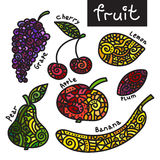 Fruits. Stained glass window Stock Photos