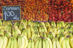 Banana Pear Peach Fruits stall Royalty Free Stock Image