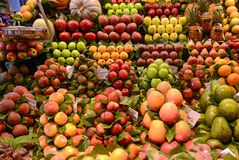 Fruits stand in at Boqueria Royalty Free Stock Image