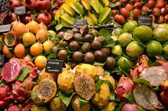 Fruits stand in at Boqueria Stock Image