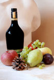 Fruits and statue. Fruits on a pedestal, and statue background Royalty Free Stock Image