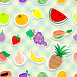 Fruits Stickers Seamless pattern Stock Photo