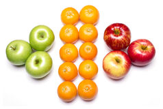 Fruits. Still life of different fruits, healthy and tasty, on isolated white background royalty free stock photography