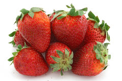 Fruits strawberry many isolated Royalty Free Stock Images