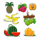Fruits of summer isolated on white background. Fruits of summer  on white background Royalty Free Stock Photo