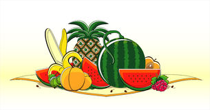 Fruits of summer on napkin. Fruits of summer on yellow napkin Royalty Free Stock Photo