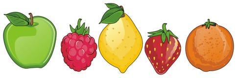 Fruits sur la rangée Illustration Stock
