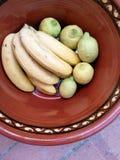 Fruits sur le pot d'argile Photos libres de droits