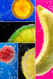 Fruits surrounded by bubbles. Fresh fruits into the soda. Photo collage Royalty Free Stock Images