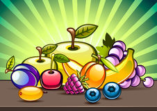 Fruits on the table. Illustration of fruits on the table Royalty Free Stock Images