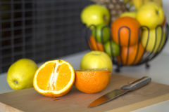 Fruits on table in the kitchen Royalty Free Stock Photo