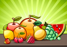 Fruits on the table. Set of fruits on the brown table Vector Illustration