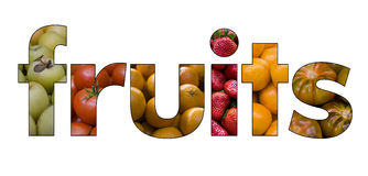 Fruits text Stock Photo