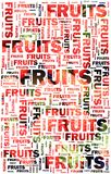 Fruits text with strawberries Royalty Free Stock Photo