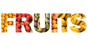 Fruits text Royalty Free Stock Image