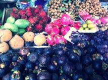 Fruits. Thai fruits mangosteen mango rambutant Stock Photos