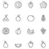 Fruits Thin Line Icons. Set of 16 thin line fruits and berries icons stock illustration