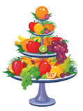 Fruits on three tier vase Royalty Free Stock Photos