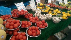 Fruits. Tomatoes mushrooms pepper at local market stock images