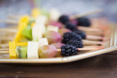 Fruits on a toothpick Royalty Free Stock Photography