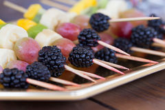 Fruits on a toothpick Royalty Free Stock Photos
