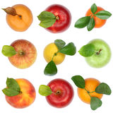 Fruits top view from above apple orange isolated on white royalty free stock images