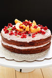 Fruits torte with mascarpone cheese Stock Image