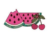 Fruits tropicaux délicieux d'été sur le fond blanc illustration stock