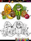 Fruits tropicaux de bande dessinée pour livre de coloriage Image stock
