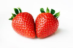 fruits - Two Strawberries Royalty Free Stock Photo