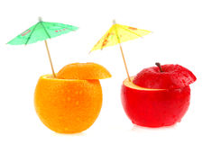 Fruits and umbrellas. Fruits and colorful umbrella on a white background Stock Images