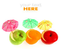 Fruits and umbrellas Royalty Free Stock Images