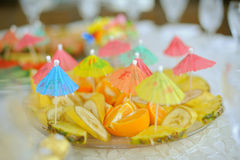 Fruits with Umbrellas Stock Photos