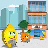 Fruits using a smartphone in front of an office building Stock Photos