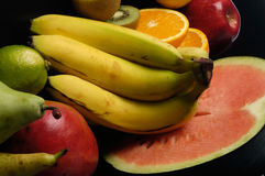 Fruits,various fruits with black background Stock Image
