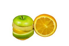 Fruits. Various type of fruit pieces stacked in a circular shape, and the next cut orange, fruit punch concept Royalty Free Stock Photos